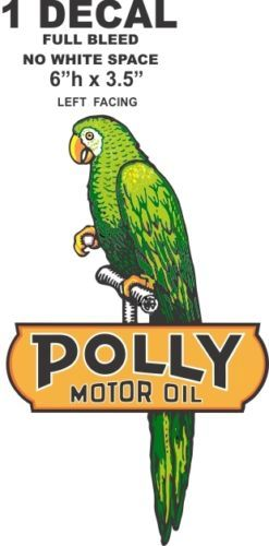 """Polly Motor Oil Left Facing 6"""" Tall - Full Bleed (No White Space)"""