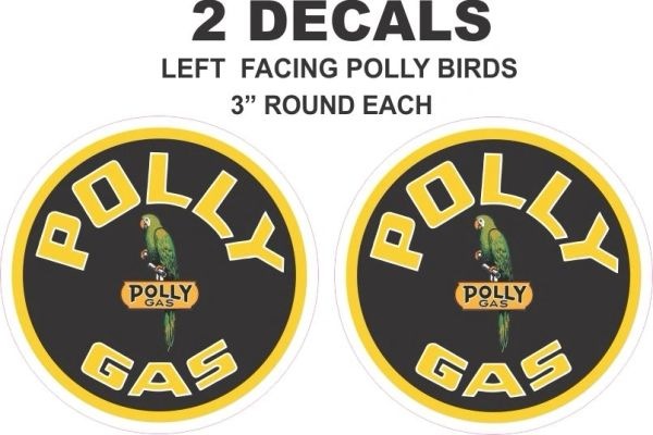 2 Polly Gasoline Round Decal - Both decals Left Facing Birds