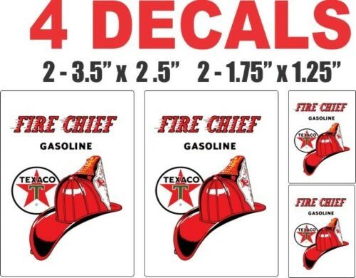 4 Fire Chief Gasoline Decals, Great for any projects