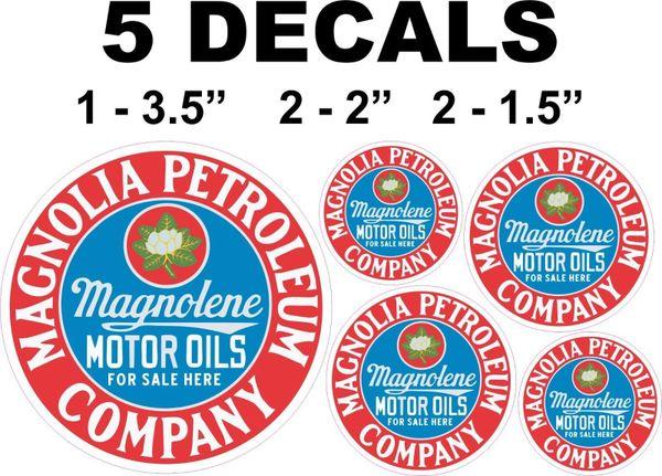 5 Magnolia Petroleum Magnolene Motor Oils Decals