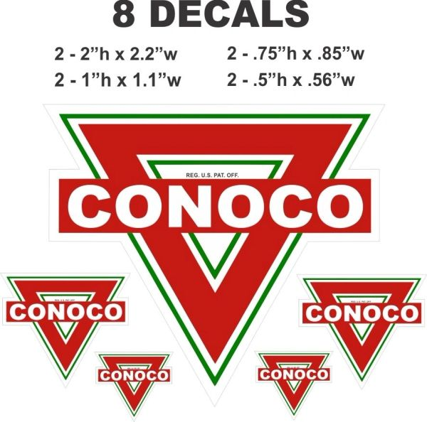 8 Conoco Gasoline Decals - Great for Scale models and Dioramas