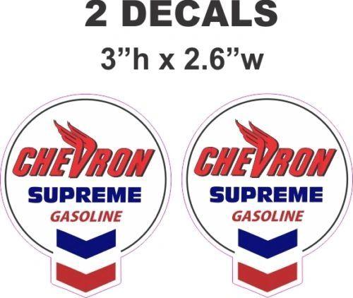 2 Vintage Style Chevron Supreme Gasoline