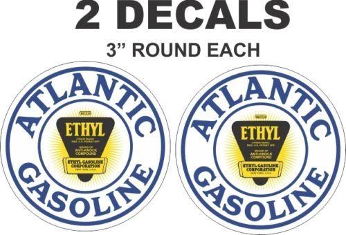 2 Atlantic Ethyl Gasoline Decals