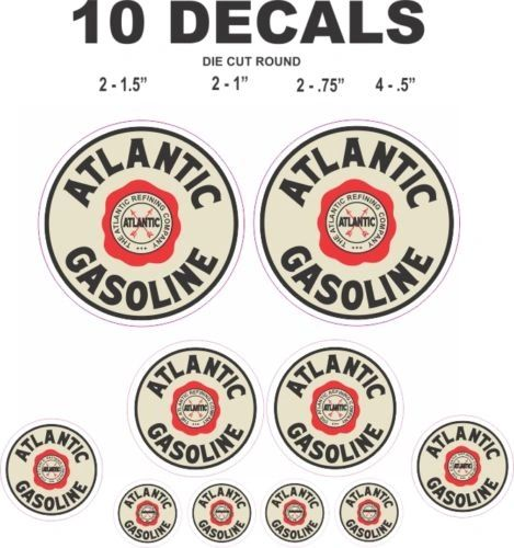 10 Atlantic Gasoline Decals - Great For Gas and Oil Cans / Scale Models / ioramas
