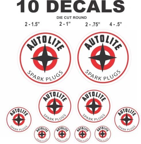 10 Autolite Spark Plug Decals, Great For Scale Models and Dioramas