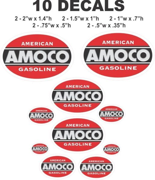 10 Amoco American Gasoline Decals, Great Fro Scale Models, Gas / Oil Cans. Dioramas