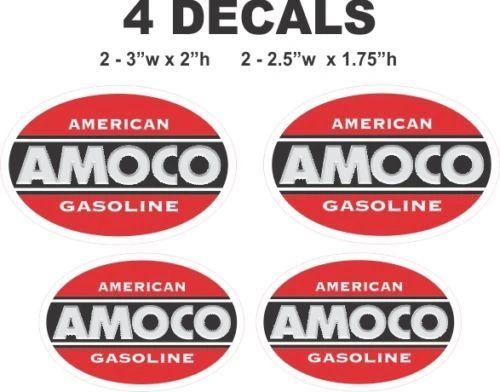 4 Vintage Style Amoco Gasoline Decals