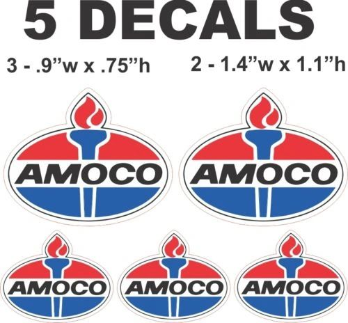 5 Amoco Decals - Nice