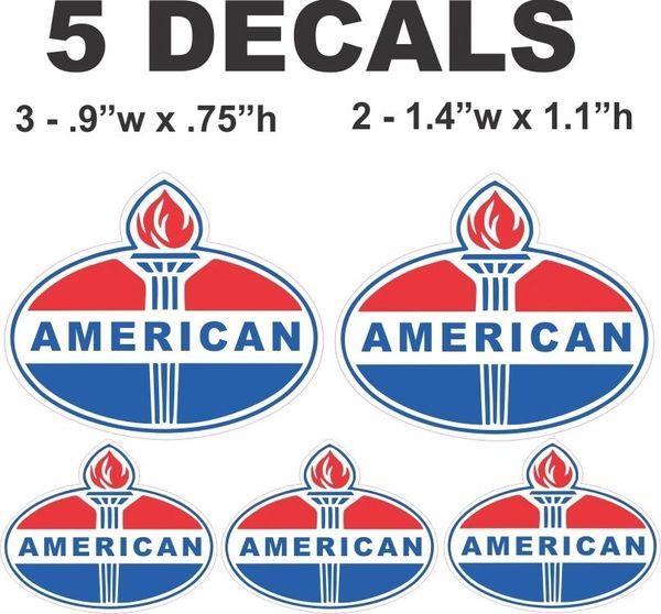 5 American Gasoline Decals - Nice