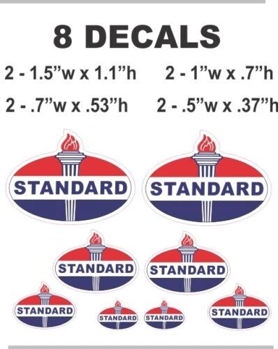 8 Standard Gasoline Oil Decals - Great For Many Projects