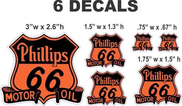 6 Phillips 66 Motor Oil Decals