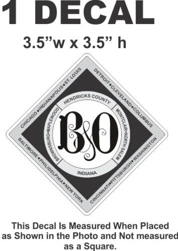 Baltimore & Ohio B&O B & O Railroad Rail Road Decal - Very Nice & Sharp