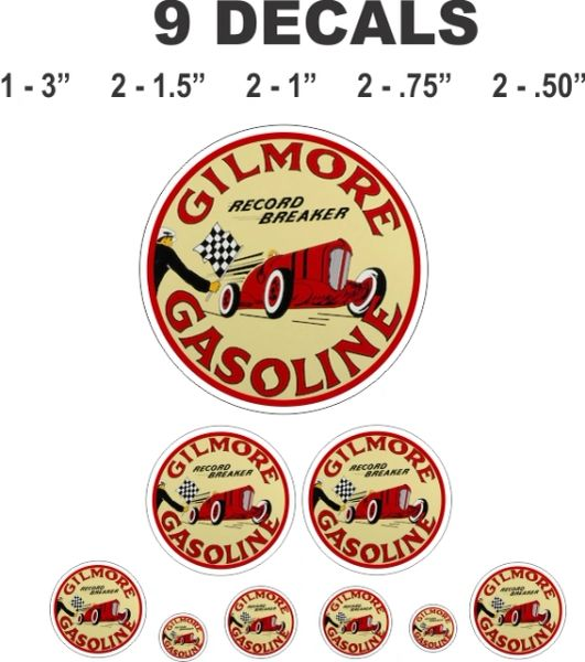 9 Gilmore Record Breaker Gasoline Decals, Great For Dioramas
