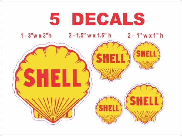 5 Vintage Style Shell Decals - Nice, Die Cut Correctly
