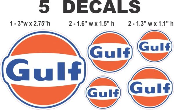 5 Gulf Gasoline Decals - Nice