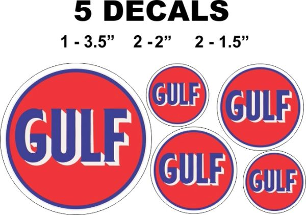 3 Round Gulf Gasoline Decals