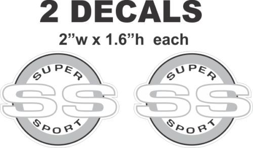 Chevrolet White SS Super Sport Camaro Nova Chevelle Monte Carlo Vinyl Decals