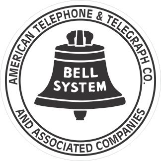 """3 Vintage Style 1-3/8"""" Bell System American Telephone & Telegraph Associated Co. Decal in Black"""