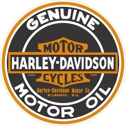 "3.5"" Round Harley Davidson Motor Oil Decal - Nice and Sharp"