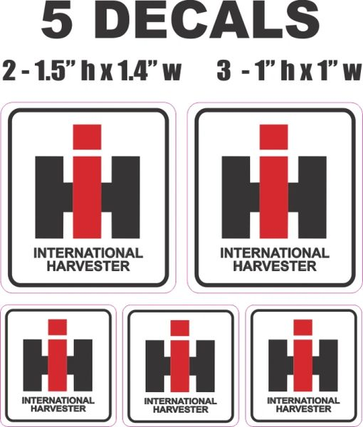 5 International Harvester Decals - Great Quality