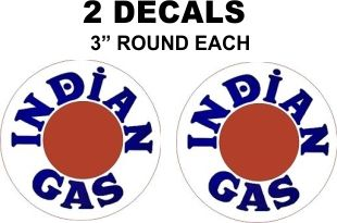 2 Indian Gas Decals