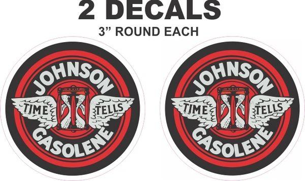 2 Vinatge Style Johnson Gasolene Gasoline Decals