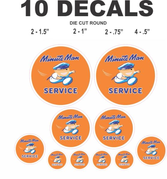 10 Minute Man Service Decals - High Quality