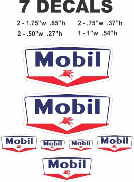 7 Vintage Style Mobil Gasoline Decals