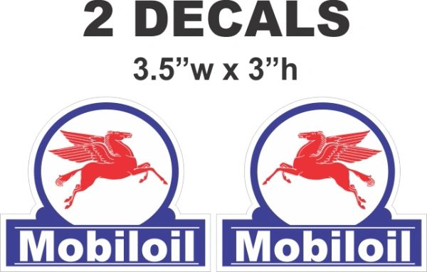 2 Mobil Oil Mobiloil Decals Left and Right Facing Pegasus