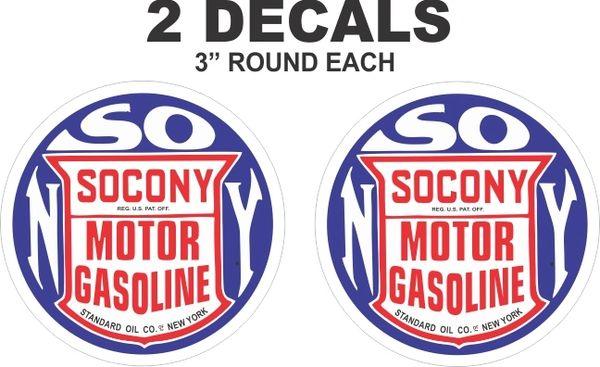 2 Round Socony Motor Gasoline Standard Oil Company