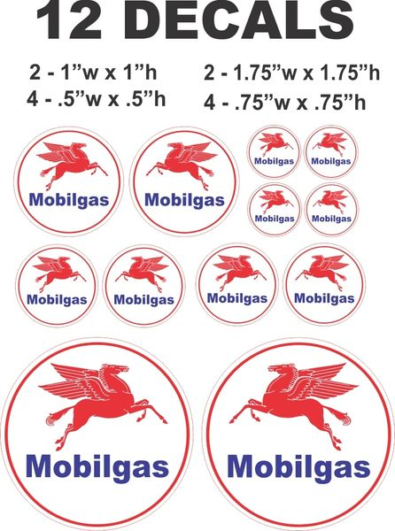 12 Decals Mobilgas Gasoline - Great For Scale Models and Dioramas
