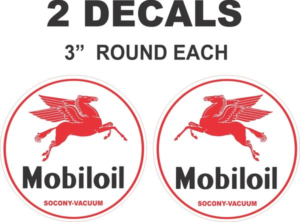 2 Round MobilOil Mobil Oil Decals - Nice