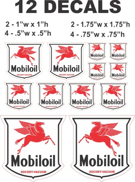 12 Mobiloil Mobil Oil Decals - Great for Gas and Oil Cans, Scale Models and Dioramas