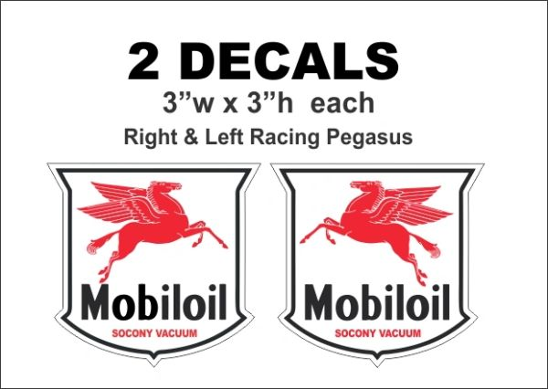 2 Mobiloil Mobil Oil Pegasus Left and Right Decals