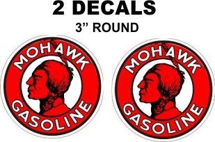 2 Mohawk Gasoline Decals - Sharp and Vivid - Nice