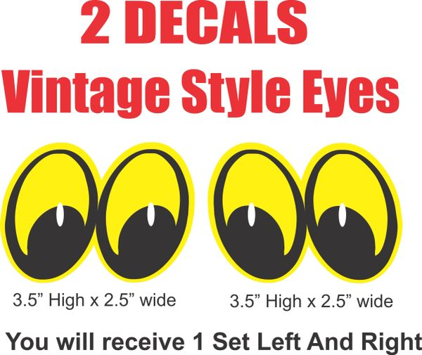 2 Yellow Vintage Style Street Rod Rat Rod Eyes Style Decals