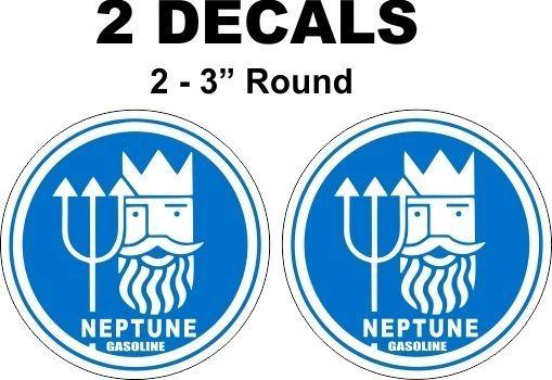 2 Blue Neptune Gasoline Decals