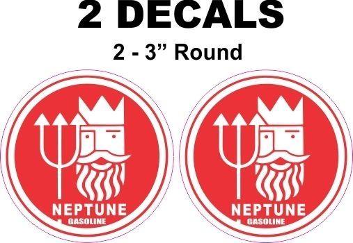 2 Red Neptune Gasoline Decals