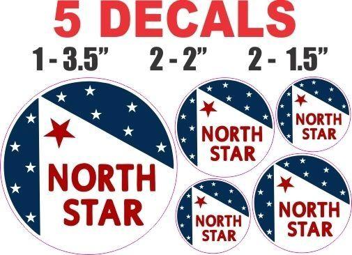 5 Round North Star Decals