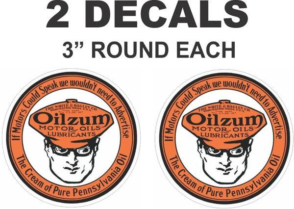 2 Vintage Style Round Oilzum Oil