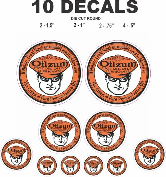10 Vintage Style Oilzum Decals - Great For Diorama, Sale Model Gas / Oil Cans