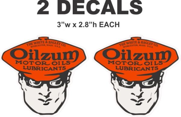 2 Vintage Style Oilzum Die Cut To Shape - Nice