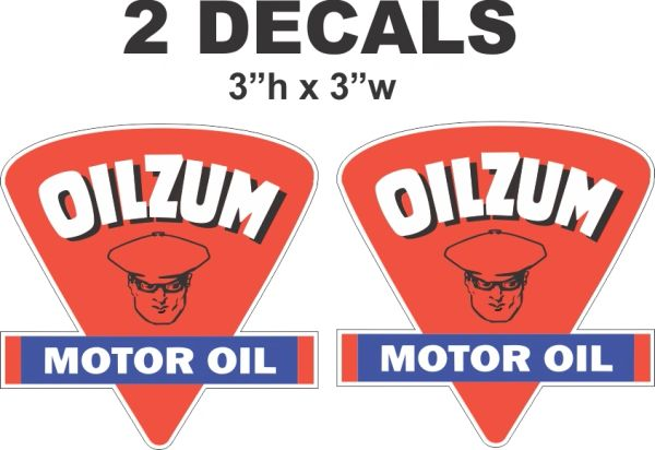 2 Oilzum Motor Oil Decals Die Cut To Shape - Nice