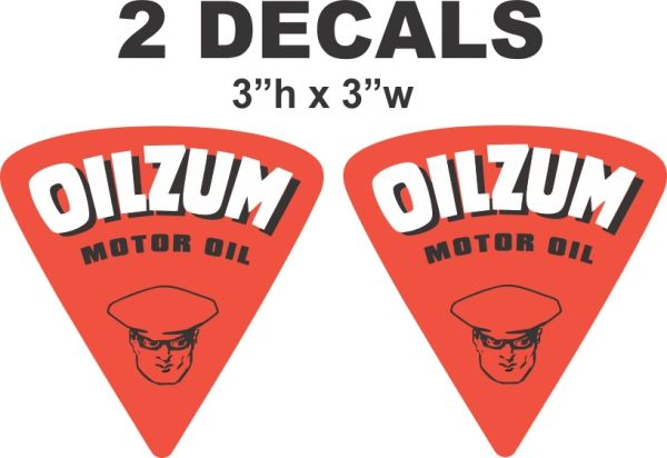 2 Oilzum Motor Oil Decals - Nice and Vivid - Cut To Shape
