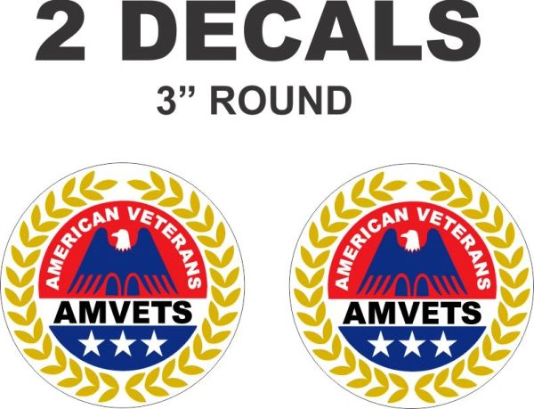 2 Amvets American Veterans Decals