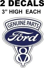 2 Ford V8 Genuine Parts Decals
