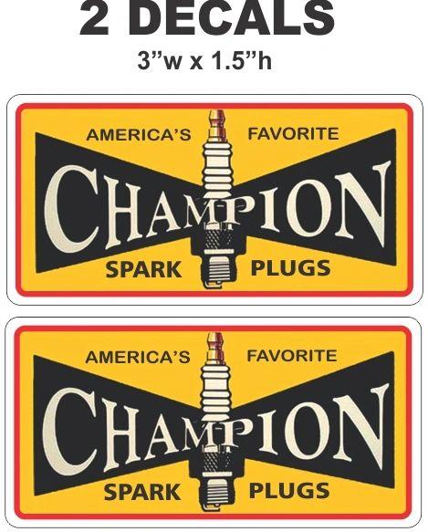 2 Vintage Style Champion Spark Plug Decals - Nice