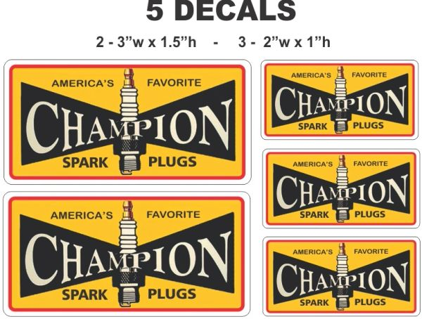 5 Vintage Style Champion Spark Plug Decals