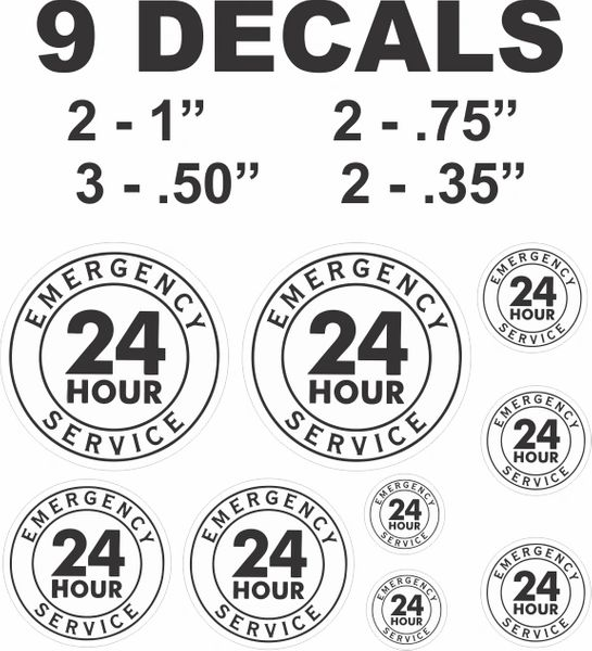 9 Decals Various Sizes 24 Hour Service In Black