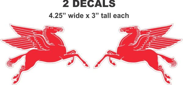 2 Mobil Pegasus Decals Left and Right Facing - Nice and Sharp